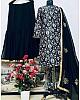 Black heavy satin silk digital printed work sharara suit