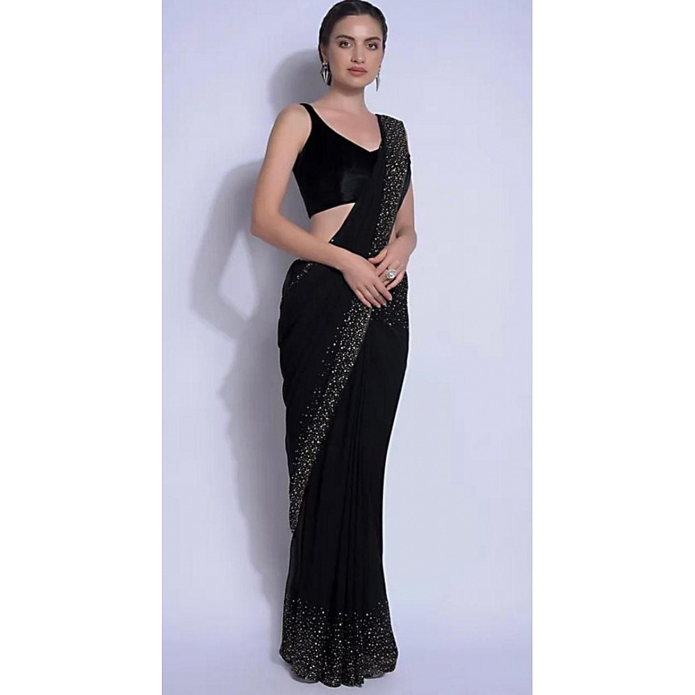 Black moss georgette fix crystal work  saree