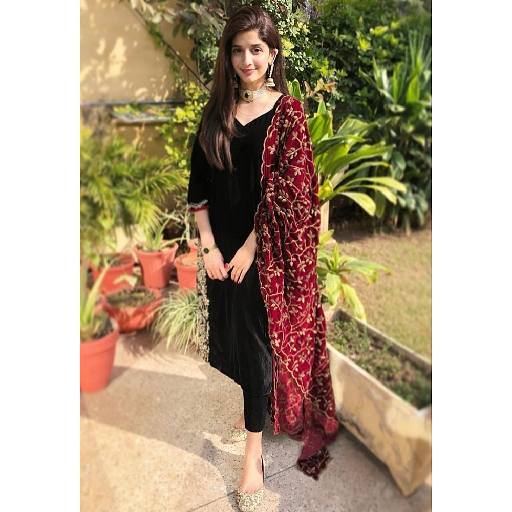 Black rayon suit with embroidered dupatta