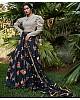 Black silk crepe flower printed party wear lehenga choli
