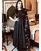 Black silk printed work party wear umbrella flair anarkali dress