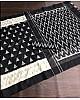 Black slub linen cotton digital printed work saree