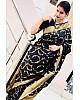 Black soft lichi silk jacquard work saree