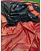 Black soft lichi silk jacquard zari weaving work designer saree