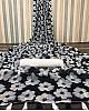 Black soft linen zari weaving digital printed work saree