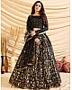 Black taffeta silk pigment foil printed work wedding lehenga choli
