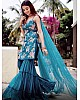 Blue georgette embroidered work kurta with plazzo