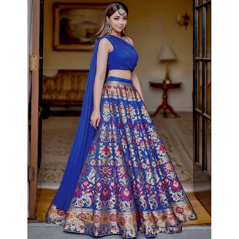 Blue gotta satin digital printed lehenga choli