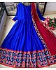 Blue heavy georgette digital printed work ceremonial wear gown with dupatta