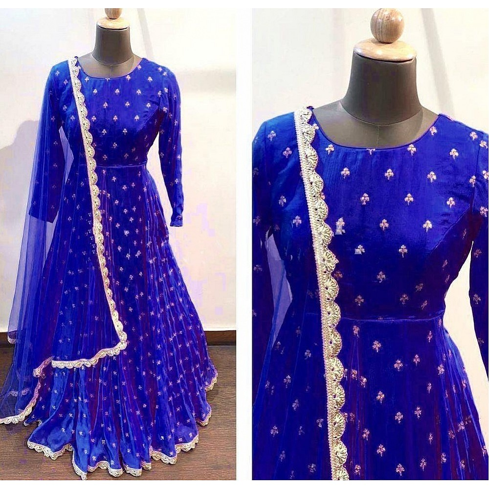 Blue heavy georgette with embroidered work party wear gown