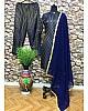 Blue heavy jacquard butti work salwar suit