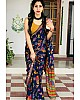 Blue heavy soft silk digital printed saree