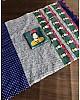 Blue linen digital print cotton tussles work saree