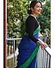 Blue original chanderi linen digital printed work saree
