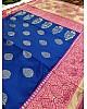Blue soft kanjiwaram jacquard weaving work ceremonial saree