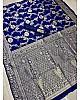 Blue soft lichi silk jacquard weaving work wedding saree