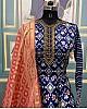 Blue taffeta silk digital printed gown