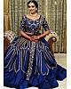 Blue taffeta silk heavy embroidered work lehenga choli