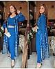 Blue tapeta silk digital printed salwar suit with shrug