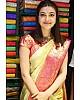 Cream soft lichi silk jacquard weaving work wedding saree
