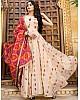 Cream tafeta silk printed gown with dupatta