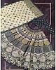 Cream vaishali silk printed embellish sequins work lehenga choli
