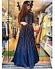 Dark blue tapeta silk sequence work gown