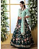 Dark green georgette thread embroidered bridal lehenga choli