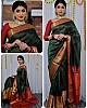 Dark green lichi silk jacquard weaving work wedding sare