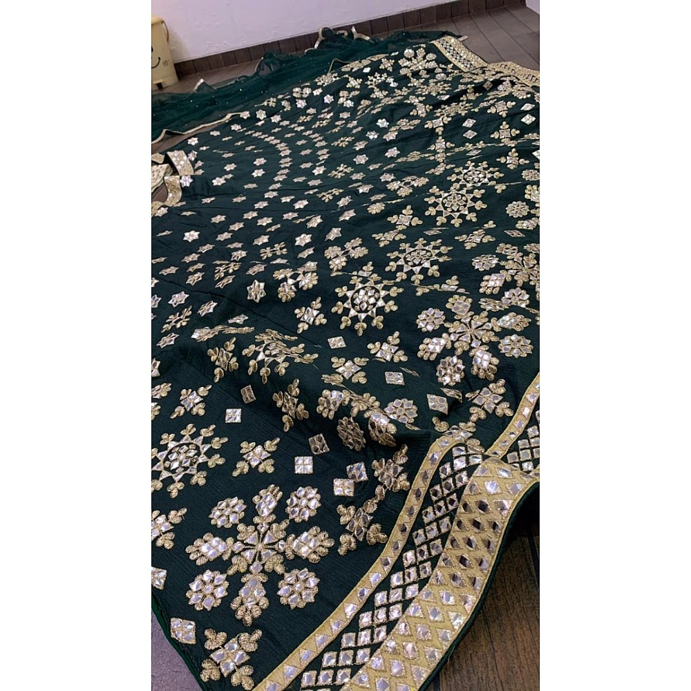 Dark green mulberry silk heavy paper mirror embroidered wedding lehenga choli