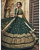 Dark green soft net sequence and zari work bridal lehenga choli