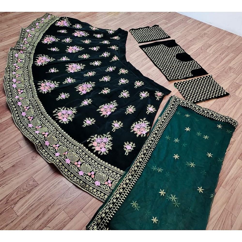 Dark green taffeta velvet heavy embroidered work wedding lehenga choli