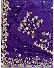 Dark purple georgette cording sequence work ceremonial wear saree