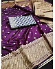 Dark purple soft lichi silk jacquard weaving work wedding saree
