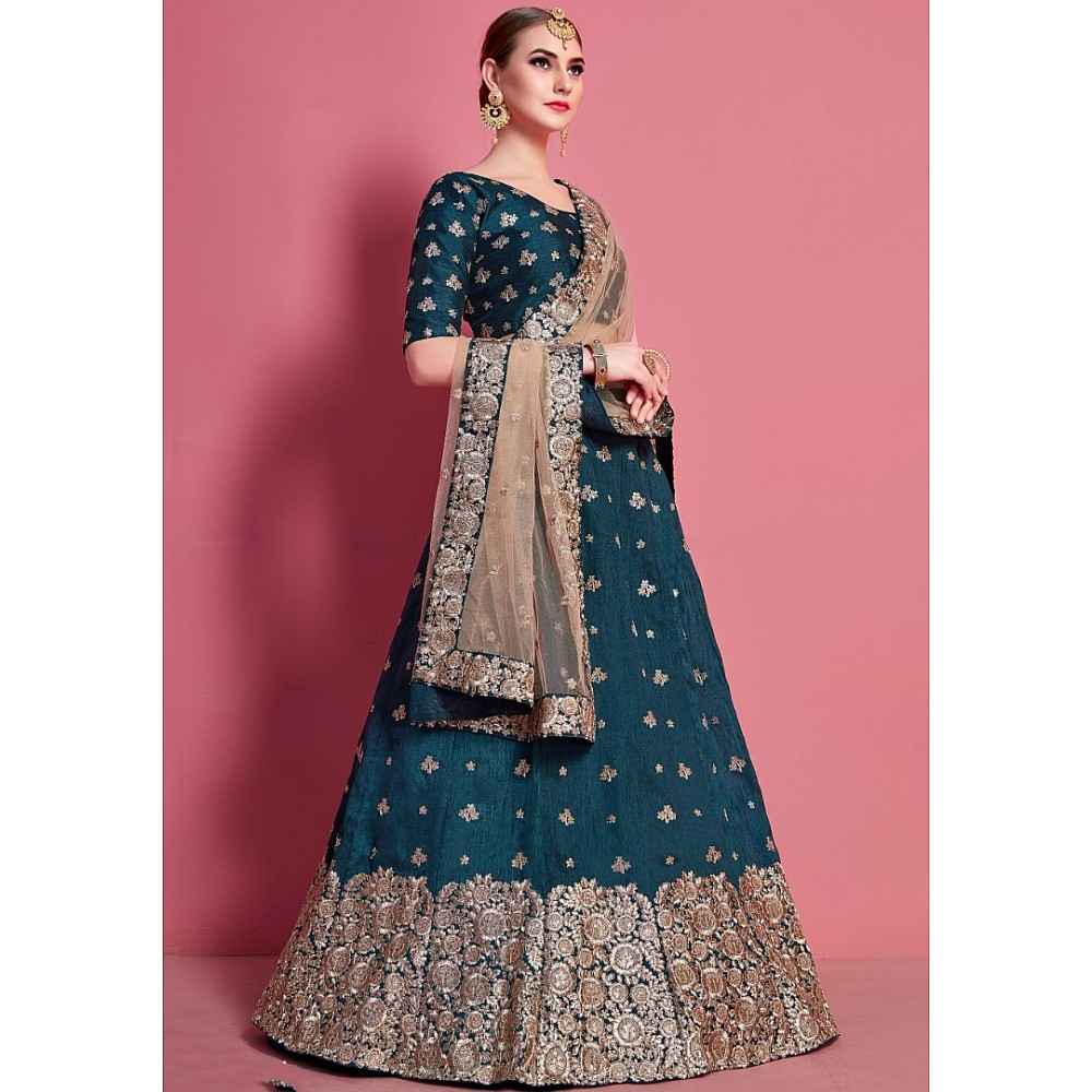 Dark rama art silk embroidered party wear lehenga choli