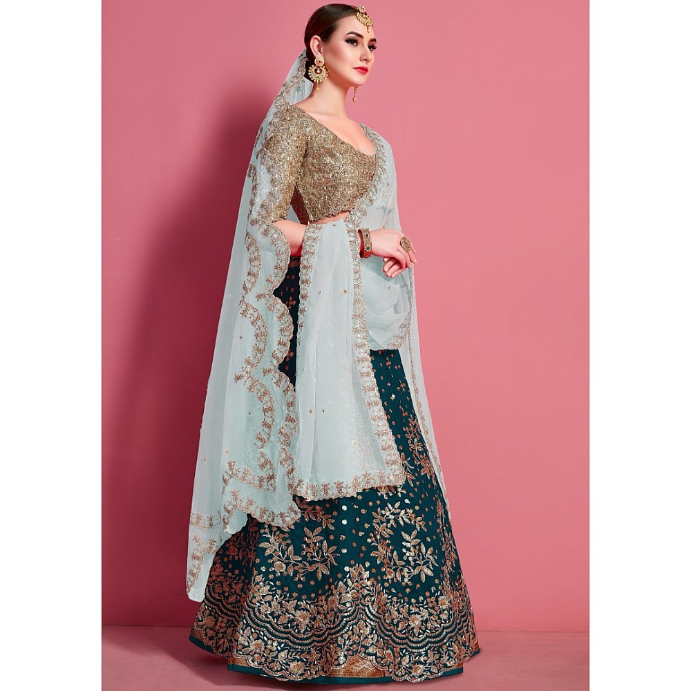 Dark rama art silk embroidered work bridal lehenga choli
