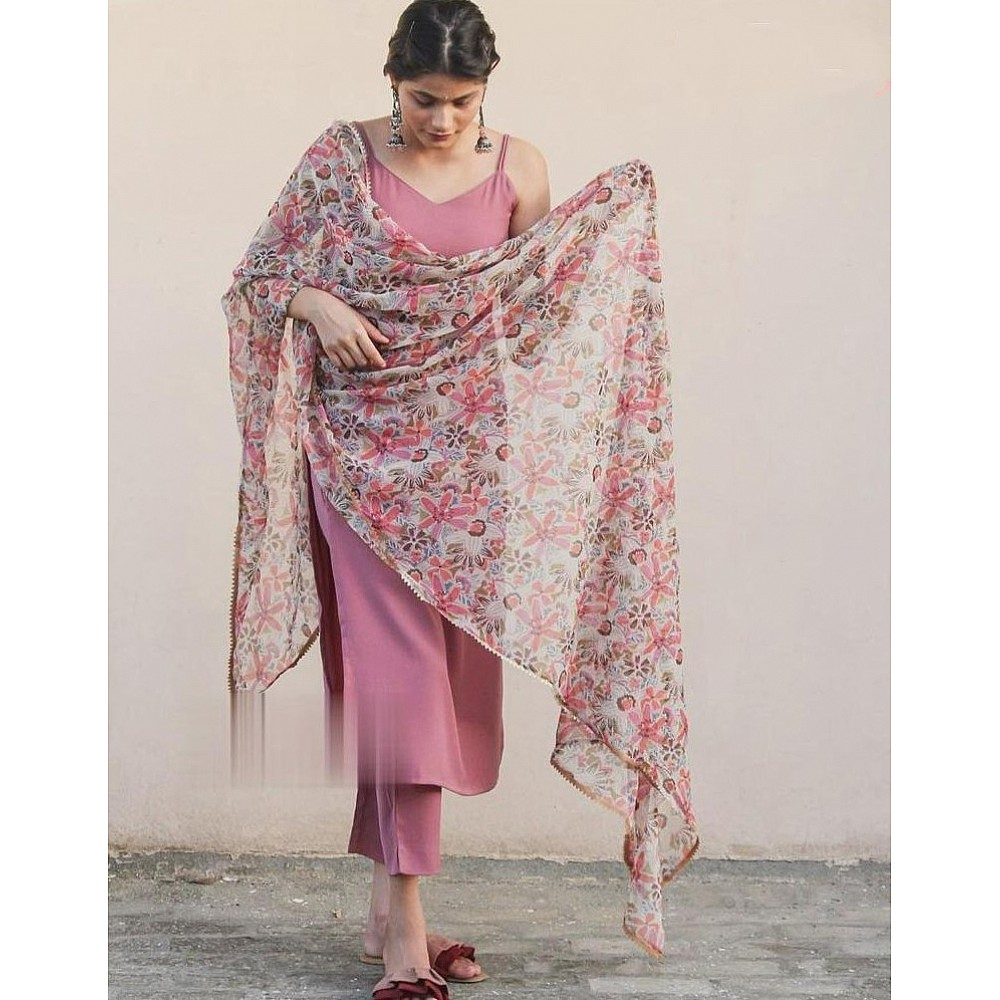 Dusty rose japan silk with extra sleeve kurti with plazzo