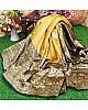 Golden soft lichi silk jacquard weaving work wedding saree