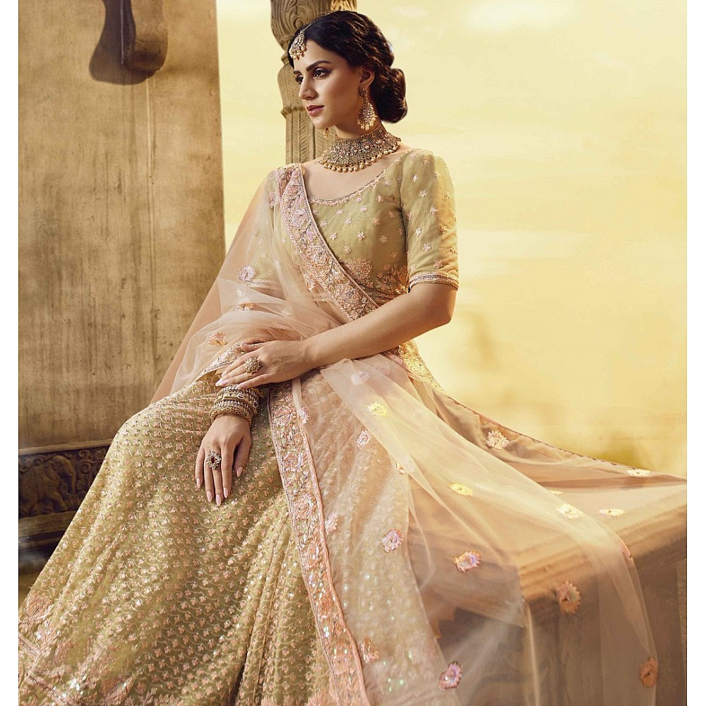 Golden soft net gota silk pearl work bridal lehenga choli