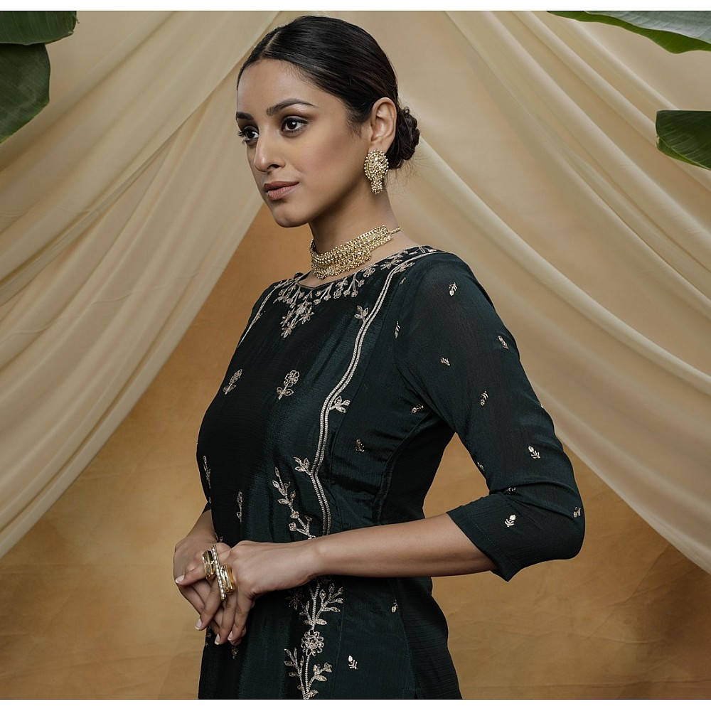 Green chinon sequence embroidered party wear plazzo suit