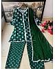 Green heavy butterfly silk digital printed work plazzo suit
