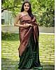 Green kanchipuram silk jacquard weaving work wedding saree