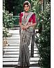Grey kanchipuram silk silver jacquard work saree