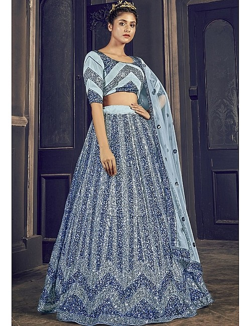 Grey net sequence embroidered  work party wear lehenga choli