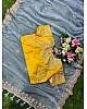 Grey pure organza silk georgette thread work ceremonial saree