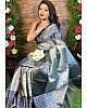 Grey soft lichi silk jacquard weaving work party wear saree