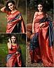Grey soft lichi silk jacquard weaving work saree