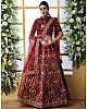 Maroon art silk sequence thread embroidered bridal lehenga choli