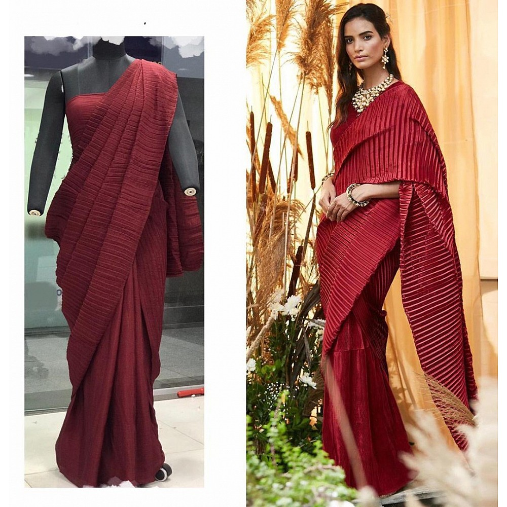 Maroon chinu pleating work party wear saree