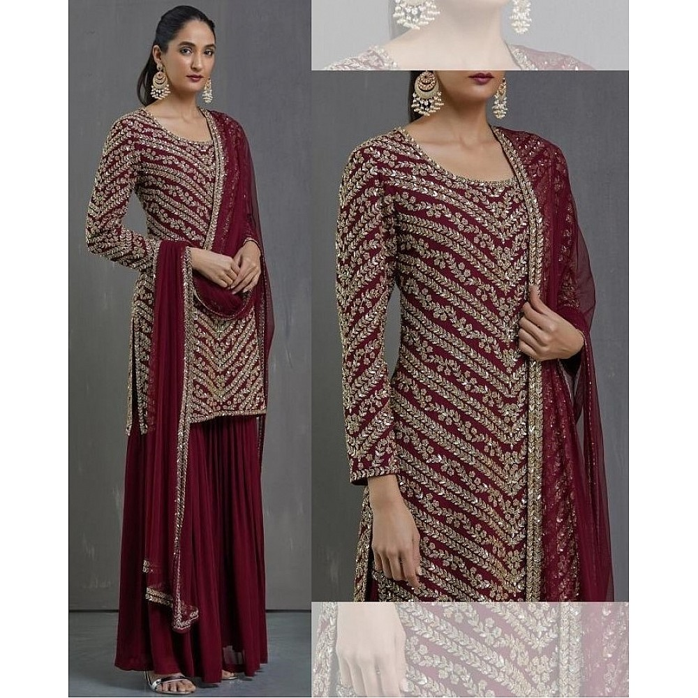 Maroon faux georgette embroidered sequence plazzo suit